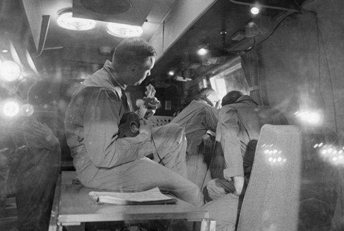 Neil Armstrong on the ship