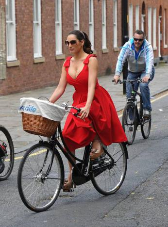 Kelly Brook on bicycle
