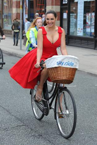 Kelly Brook  riding the streets