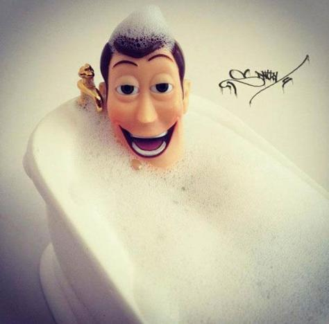Woody Takes a bath