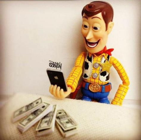 Woody With stacks of cash