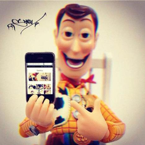 Woody with cell phone