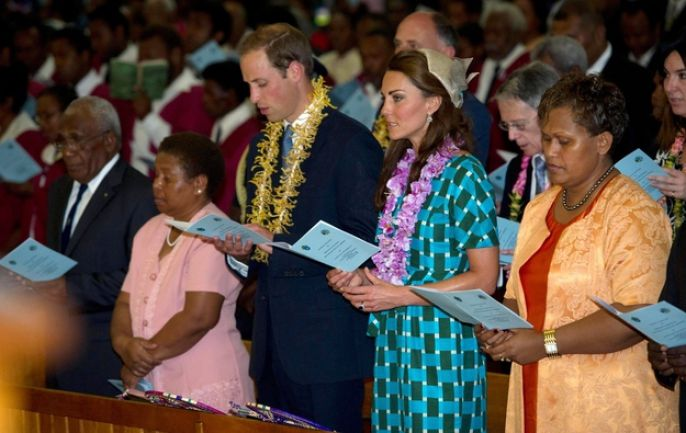 Kate Middleton and the Prince at a service