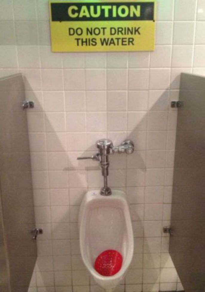 Don't drink the urinal water