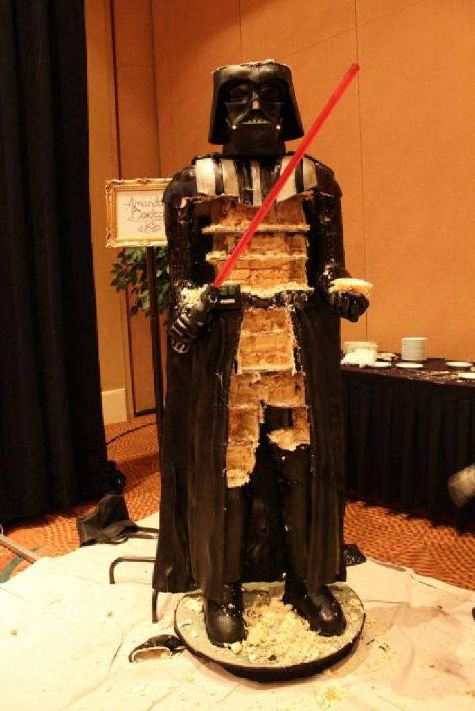 Slowly eating the life size Darth Vader