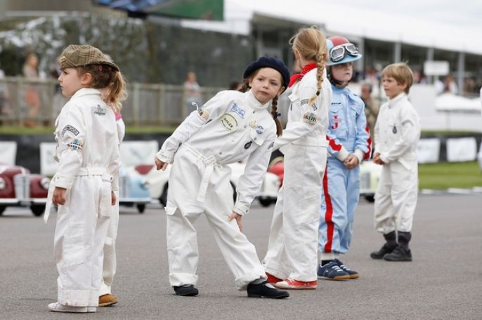 Goodwood Revival kids stretching out