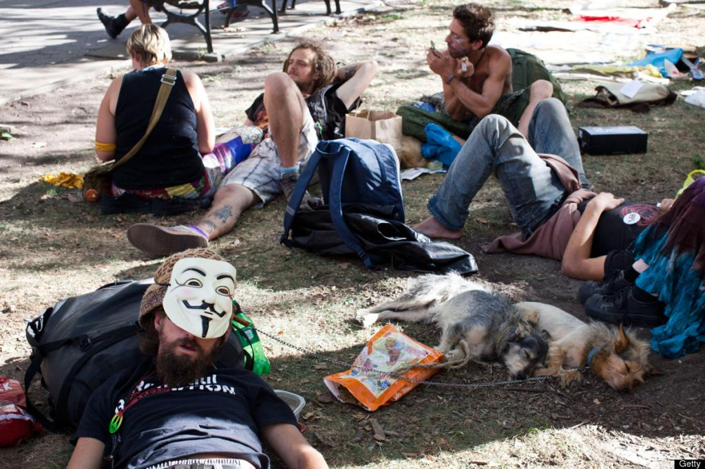 Occupy Movement group lays in the park