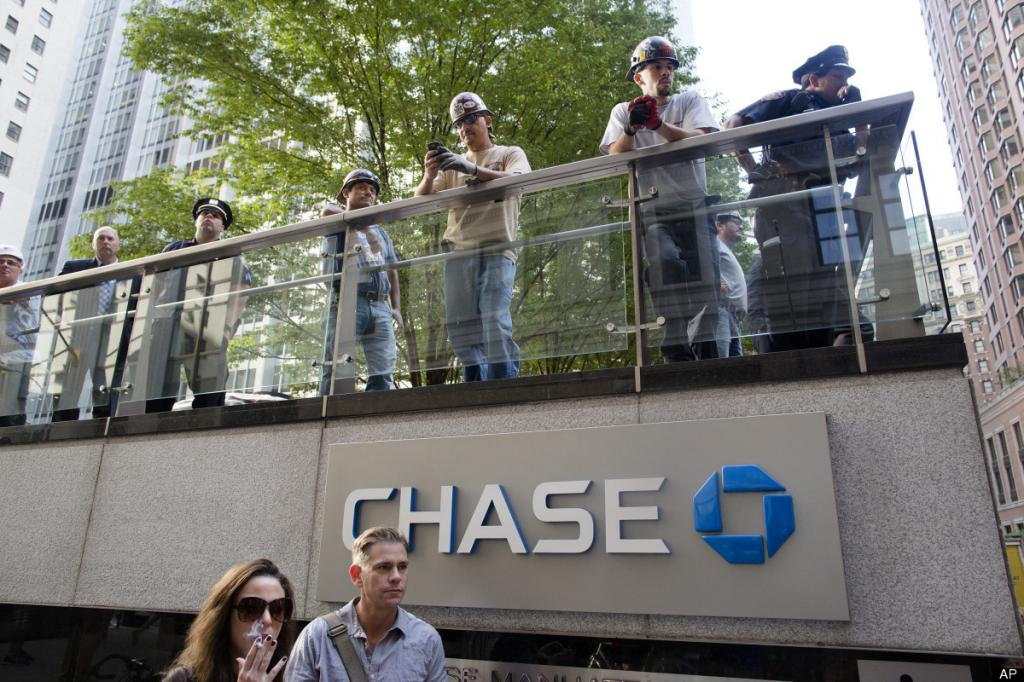Protesters above chase bank