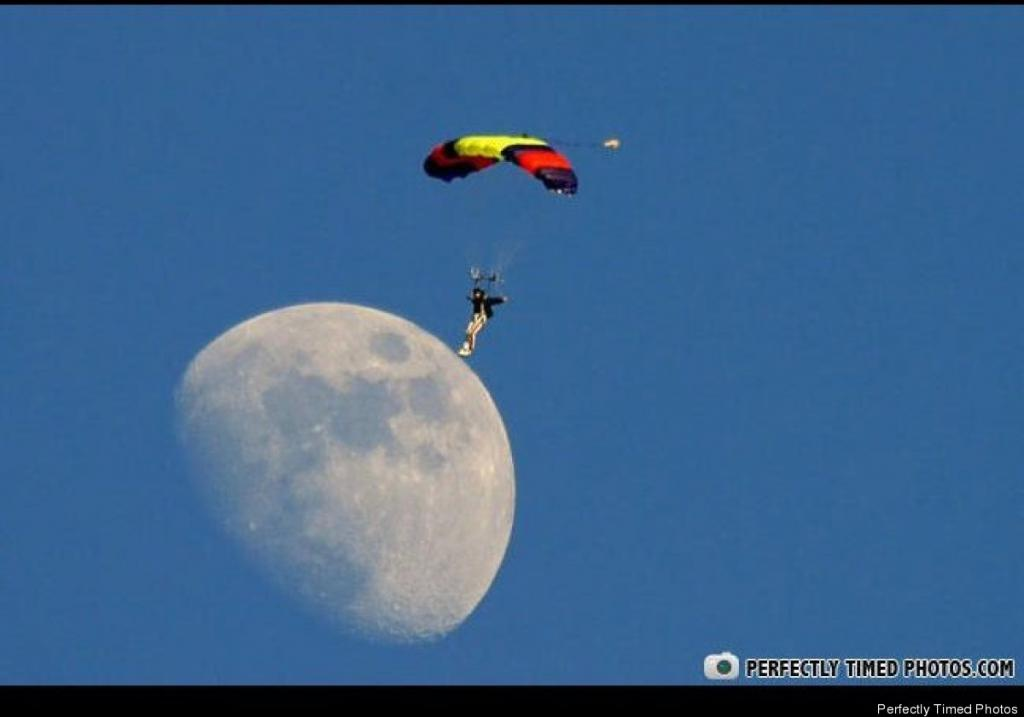 Skydiver Lands On The Moon!