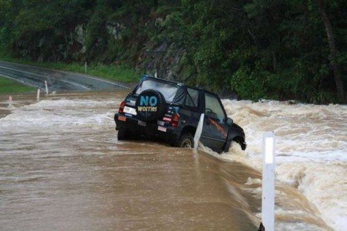 Car in a flash Flood