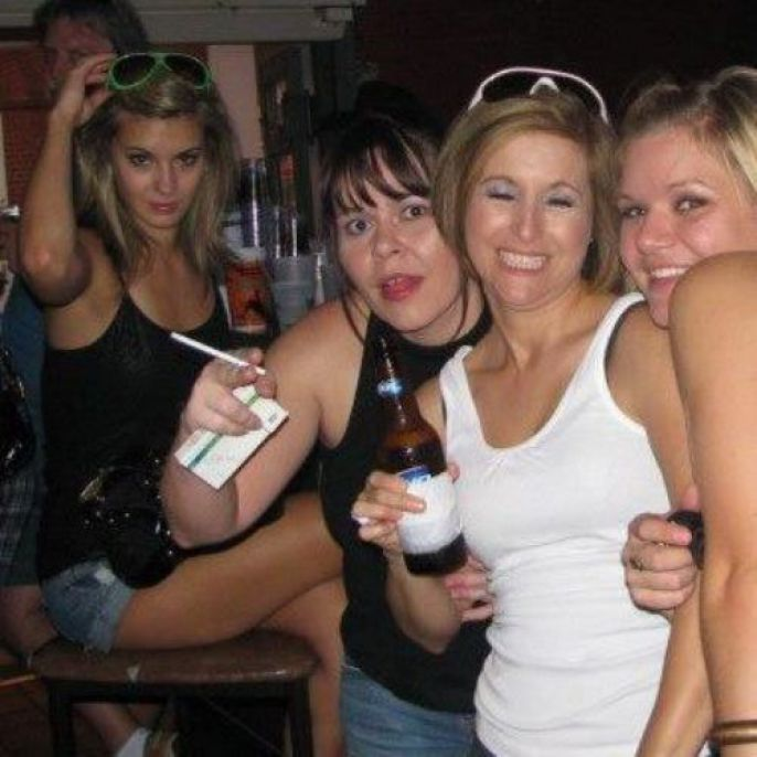 Bar Girl Photobomb