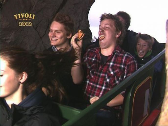 Eating on a roller coaster