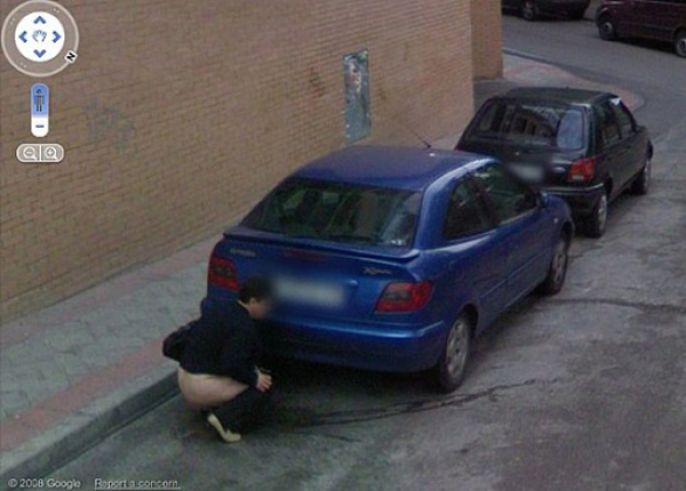Woman Peeing Behind Car