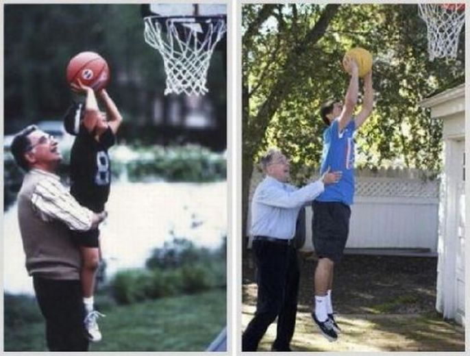 Then and Now Basketball Shot