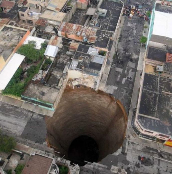 Giant Sinkhole in town