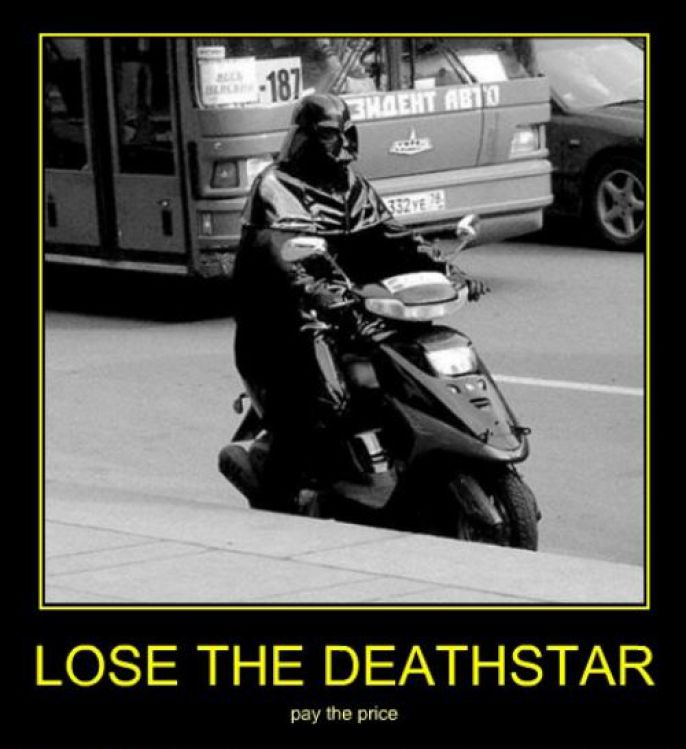Darth Vader on moped