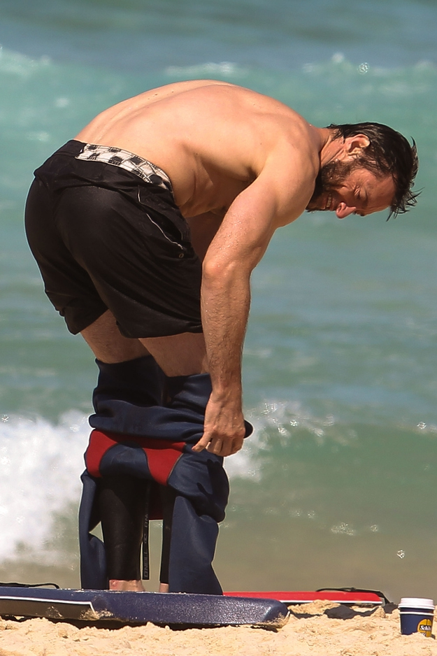 Hugh Jackman Getting out of a wet suit