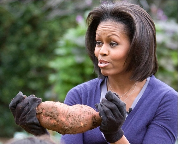 Michelle Obama and a dirty potato