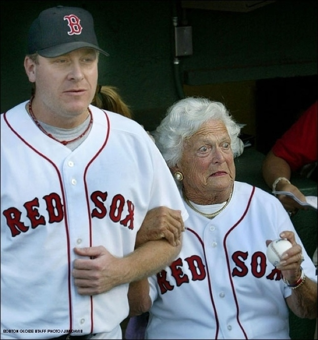 Barbara Bush with Red Sox pitcher Kurt Shilling