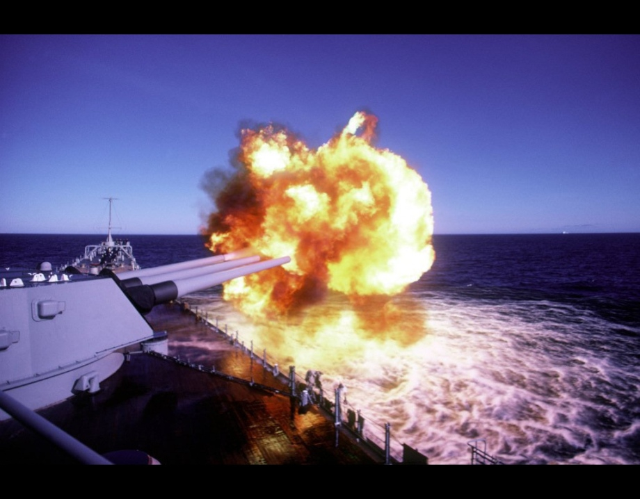 USS Iowa (BB 61) Gun Fire
