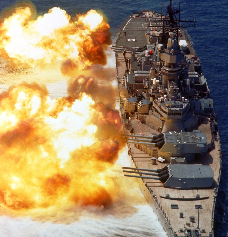 USS Iowa (BB 61) Guns Firing