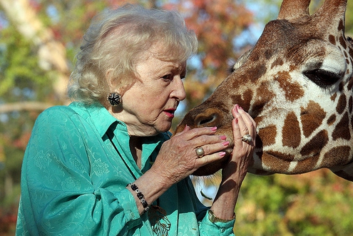 Betty White and Giraffe