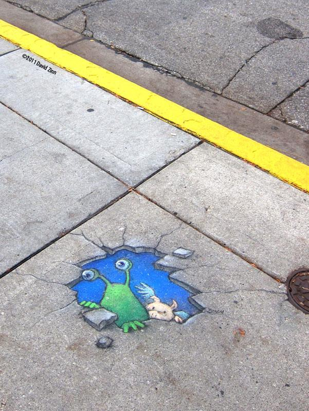 Clever Chalk Art by David Zinn