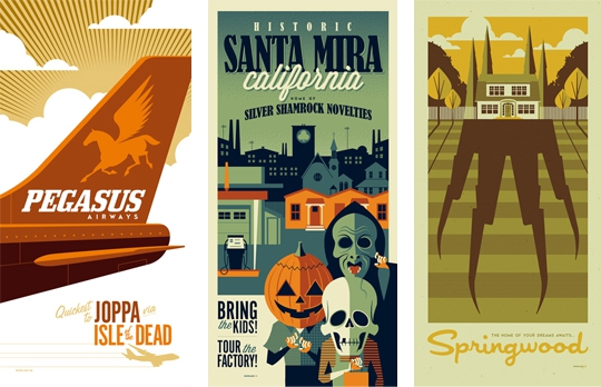 Retro Travel Posters for 1980s Films