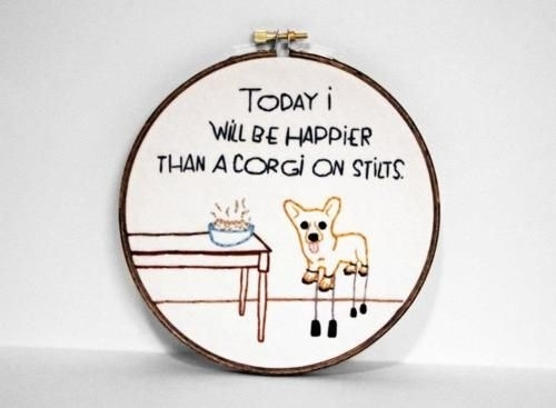 Be uplifted by this inspiring corgi cross stitch.