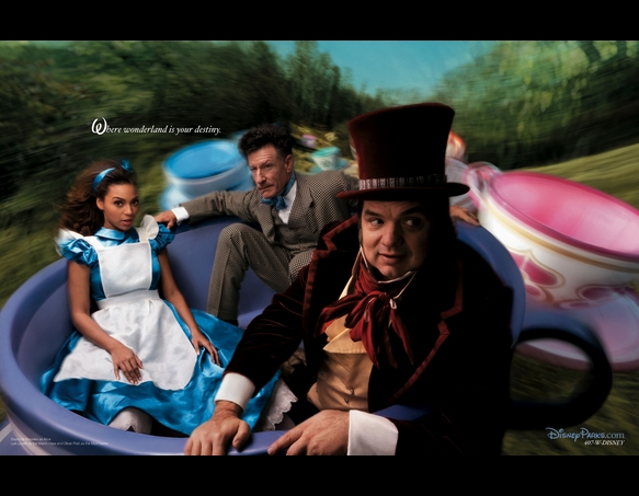 Beyonce as Alice, Lyle Lovett as the Mad Hatter, and Oliver Platt as the March Hare