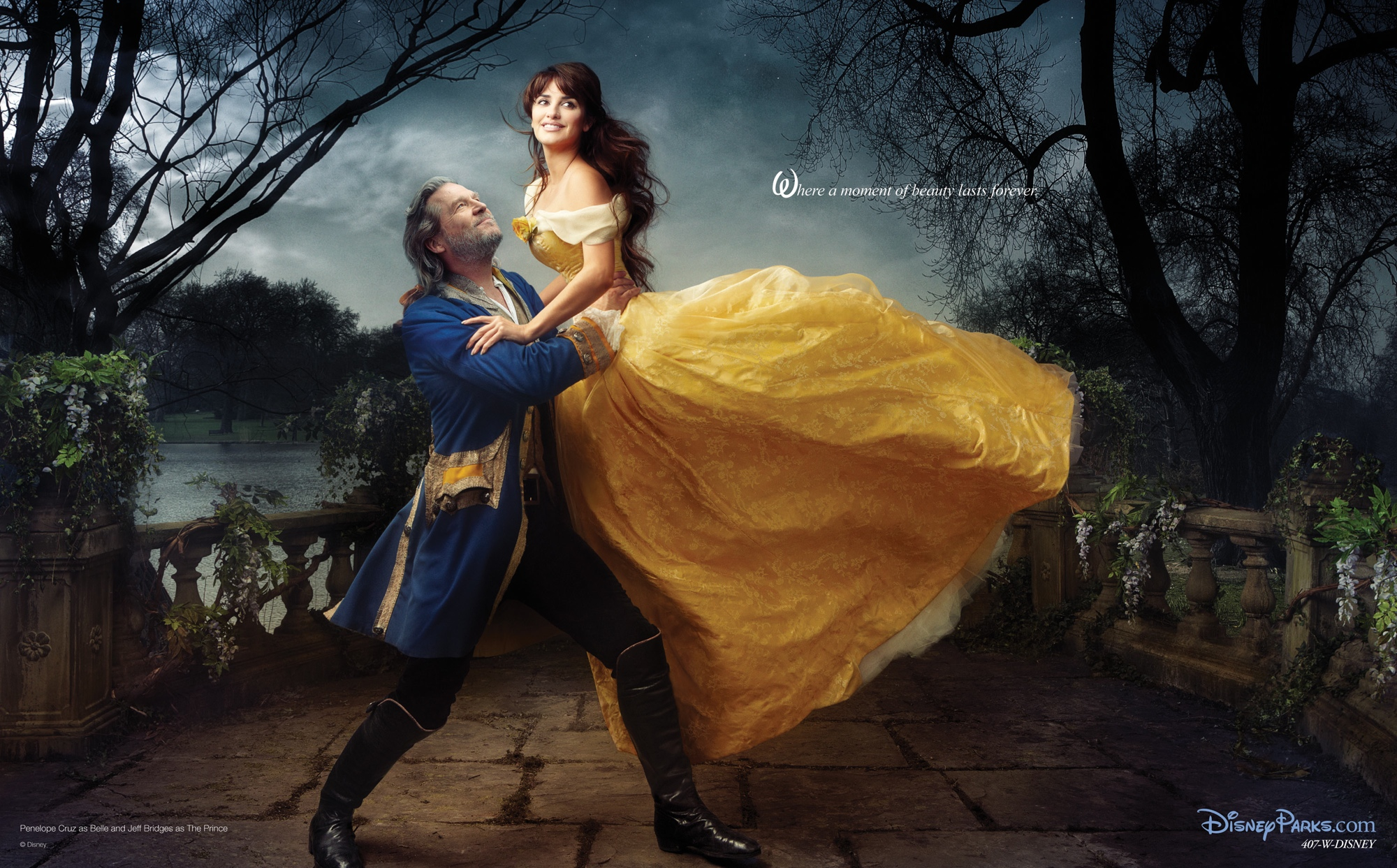 Penelope Cruz and Jeff Bridges as Belle and the Beast