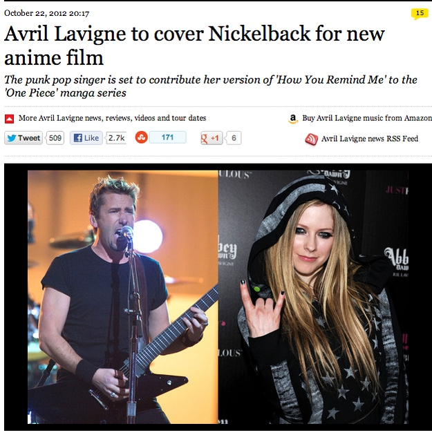 Avril Lavigne Is Going To Cover A Nickelback Song For An Anime Movie