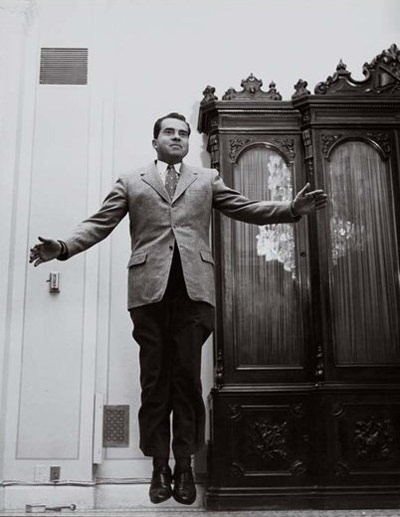 Richard Nixon taking his own leap. Photo by Philippe Halsman, 1959