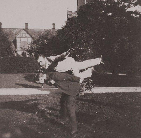 Tsar Nicholas II and another royal friend playing airplane, c. 1890