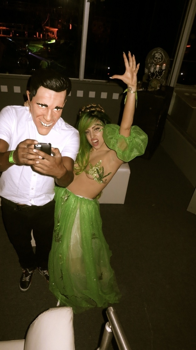 Lady Gaga Goes as Queen Cannabis for Halloween