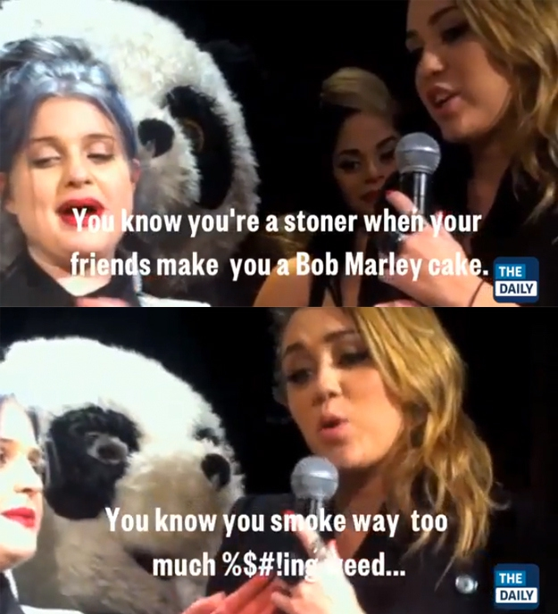 "November 2011: Miley calls herself a ""stoner"""
