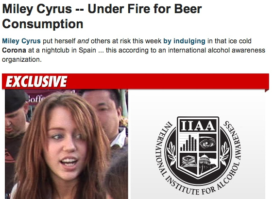 November 2010: 17-year-old Miley caught drinking beer in Spain