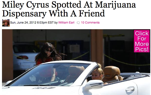 June 2012: Miley is seen outside of a marijuana dispensary