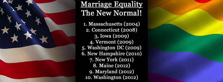 Three out of the four states voting on marriage equality said YES!