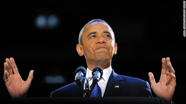President Barack Obama giving his acceptance speech