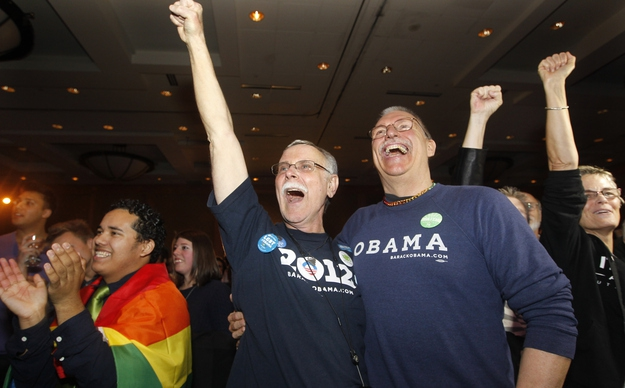 Rick Sturgiol and his partner of 34 years cheered...