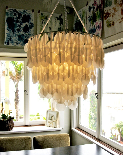 Make this beautiful chandelier using wax paper.
