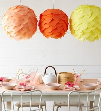 Paper petal lamps look like upside down flowers.