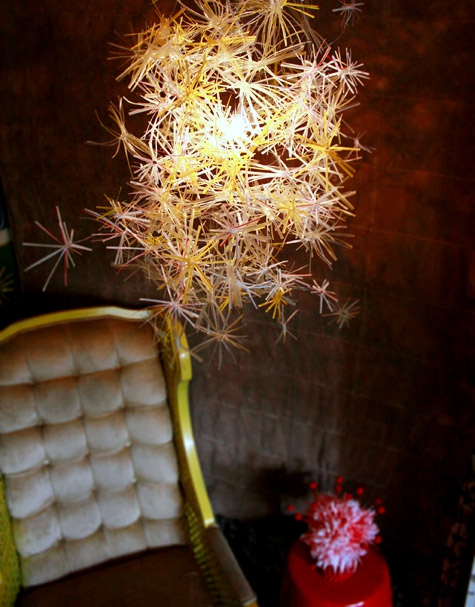 Use straws to make a chandelier.