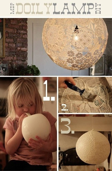 A balloon, glue and some doilies make a unique orb lamp.