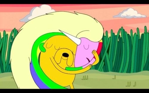 Jake's in a serious relationship with a rainbow unicorn whose name is Lady Rainicorn. She only speaks Korean.