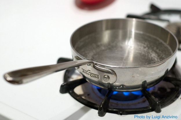 Save time by boiling water before you add it to what you're cooking.