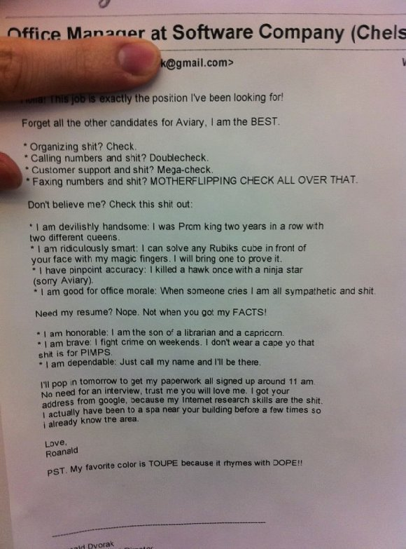 Worst Resumes Ever: You didn't get the job.