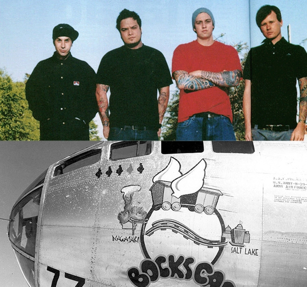 "Tom and Travis' first side-project Box Car Racer was named after ""Bockscar,"" the plane that dropped the atomic bomb on N"