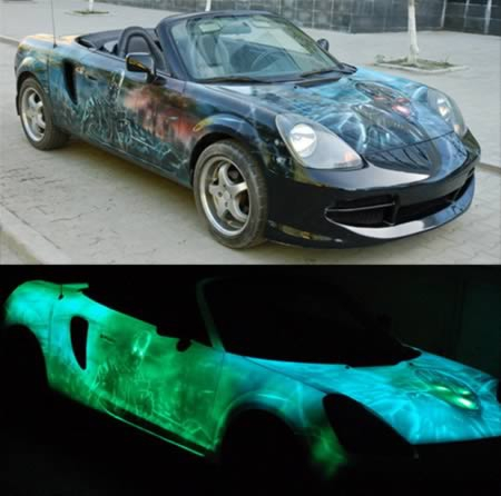 Glow-in-the-dark cars